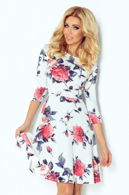 Globed dress with 3/4 sleeve - flowers - Blue 49-13 Numoco