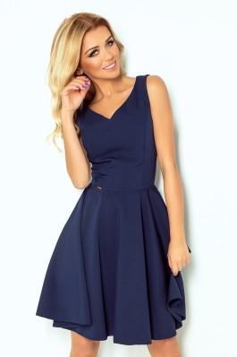 114-7 Tamsiai mėlyna suknelė su iškirpte Numoco