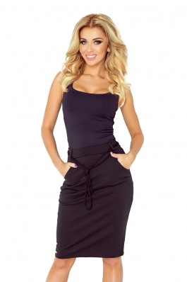 Skirt with pockets and drawstring - black 127-4 Numoco