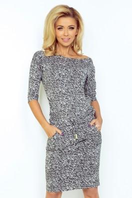 Sportinio stiliaus patogi suknelė - tamsiai pilka + raštai 13-14 Numoco