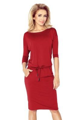 13-66 Bordo spalvos laisvalaikio suknelė Numoco