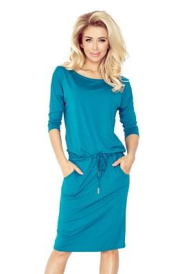 13-63 Smaragdinė patogi laisvalaikio suknelė Numoco