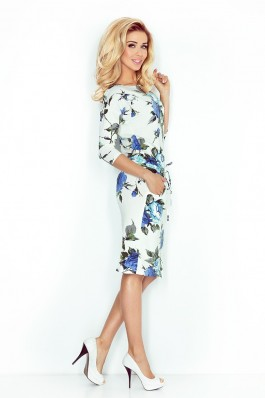 Sportinio stiliaus patogi suknelė - spalvotos gražios gėlės 13-65 Numoco