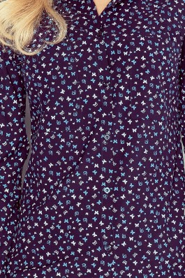 MM 018-3 Tamsiai mėlyni marškiniai su drugeliais Numoco