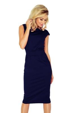 Midi ilgio elegantiška suknelė - tamsiai mėlyna 144-4 Numoco