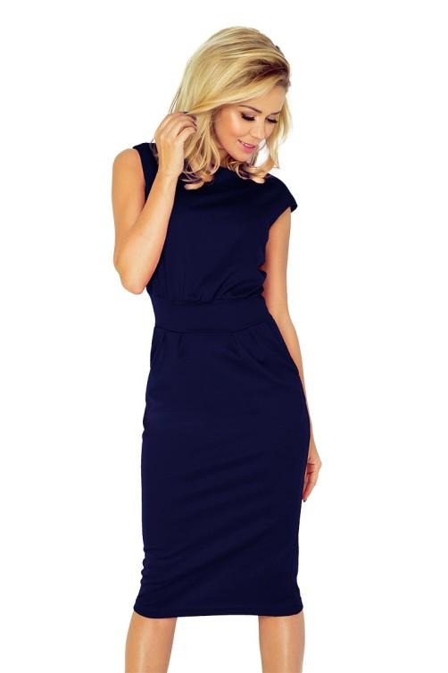 144-4 Elegantiška tamsiai mėlyna suknelė Numoco
