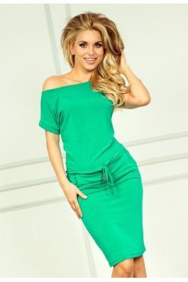 56-2 Neoninė laisvalaikio suknelė - Žalia Numoco