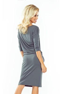 13-75 Pilka patogi tampraus audinio suknelė Numoco