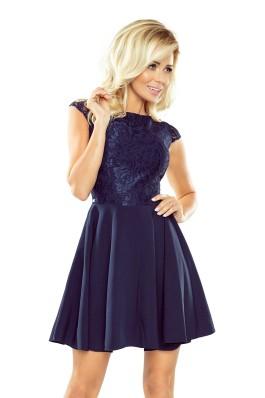 157-1 Puošni nėriniuota tamsiai mėlyna suknelė Numoco