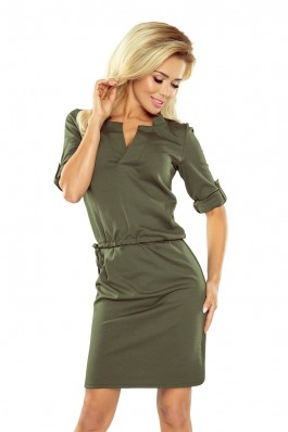 161-2 Khaki spalvos ties šonu surišama suknelė Numoco