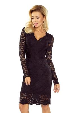 170-1 Puošni juoda suknelė su nėriniais Numoco
