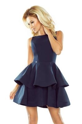 169-2 Išskirtinė puošni aukštos kokybės suknelė - tamsiai mėlyna Numoco