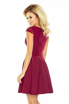 157-3 Puošni aukštos kokybės bordo suknelė su nėriniais Numoco