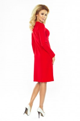 158-2 Raudona trapecijos formos suknelė Numoco