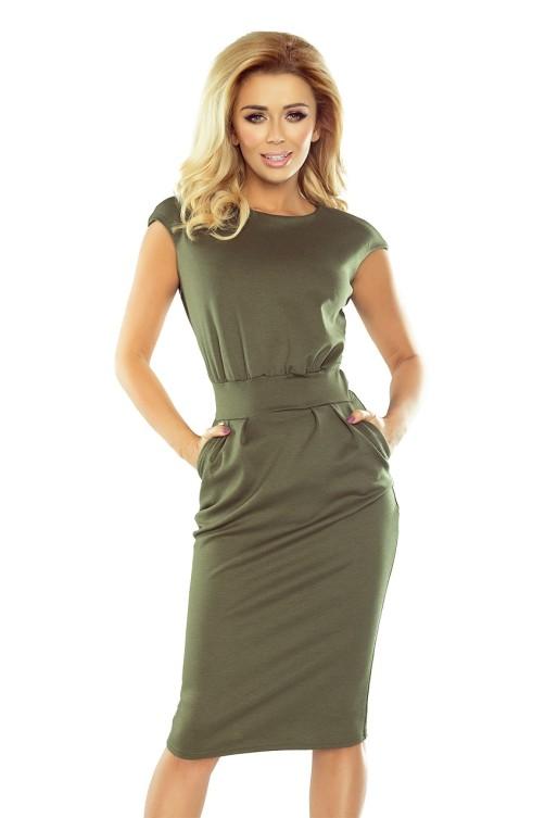 144-5 Klasikinė khaki suknelė Numoco