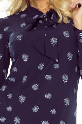 140-6 Elegantiška palaidinė- mėlyna + gėlės Numoco