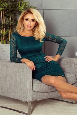 180-2 Elegantiška prigludusi suknelė su nėriniais - žalia Numoco