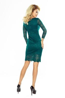 180-2 Elegantiška žalia suknelė su nėriniais  Numoco