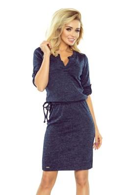 161-8 Tamsiai mėlyna šilta suknelė Numoco