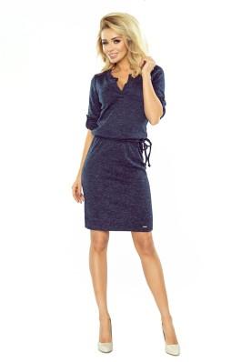 161-8 Tamsiai mėlyna megzta šilta suknelė Numoco