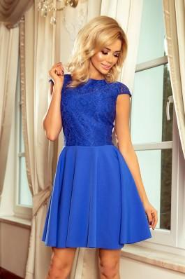 157-5 Suknelė MARTA su nėriniais - Karališka mėlyna