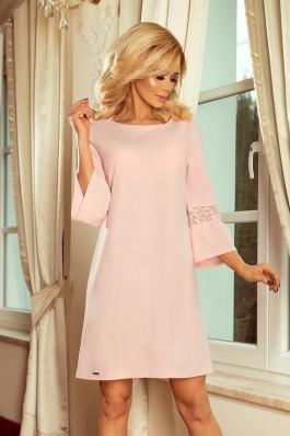 190-1 MARGARET rožinė suknelė su nėriniais ant rankovių