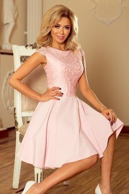 157-4 Suknelė MARTA su nėriniais - Pastelinė rožinė