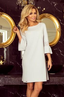 190-2 MARGARET Šviesiai pilka suknelė su nėriniuotomis rankovėmis