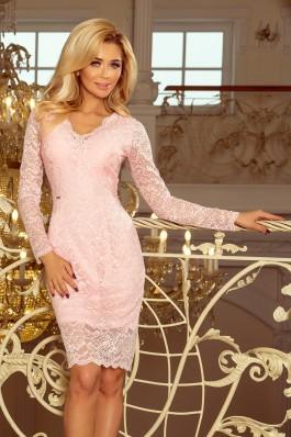 170-4 Nėriniuota pastelinė rožinė suknelė su iškirpte