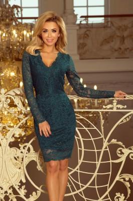 170-3 Nėriniuota suknelė su iškirpte - Smaragdinė