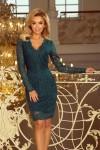 170-3 Nėriniuota elegantiška smaragdinė suknelė
