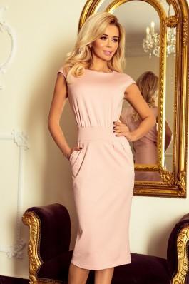 144-6 Midi ilgio suknelė SARA - Pastelinė rožinė