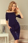 13-89 Sportinė suknelė - Tamsiai mėlyna + Taškeliai