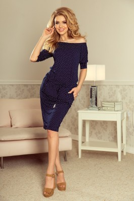 13-89 Tamsiai mėlyna laisvalaikio suknelė su taškeliais