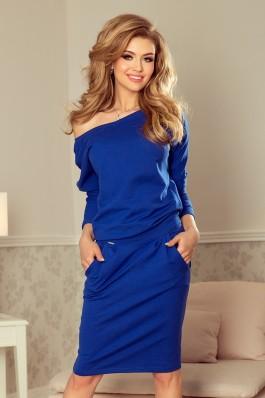 189-2 Laisvalaikio suknelė su iškirpte nugaroje - Karališka Mėlyna
