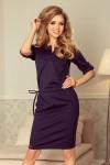 161-7 AGATA - Suknelė su apykakle - Tamsiai mėlyna