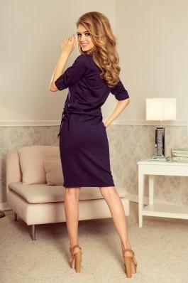 161-7 AGATA - Tamsiai mėlyna suknelė su apykakle