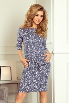 13-83 Sportinio stiliaus suknelė - Mažos gėlytės + Mėlyna