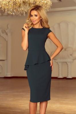 192-1 Elegantiška suknelė su klostėmis - Tamsiai žalia