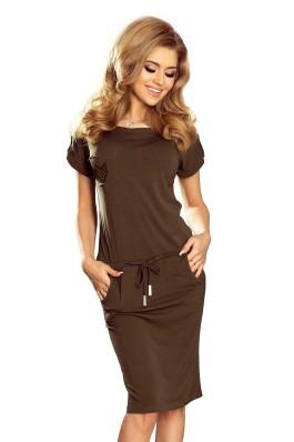 196-2 Laisvalaikio suknelė trumpomis rankovėmis ir kišenėmis - Khaki