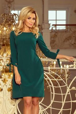195-1 ALICE Smaragdinė suknelė puošniomis rankovėmis