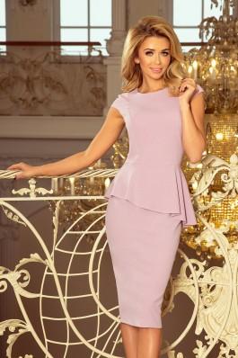 192-2 Elegantiška alyvinė suknelė su klostėmis