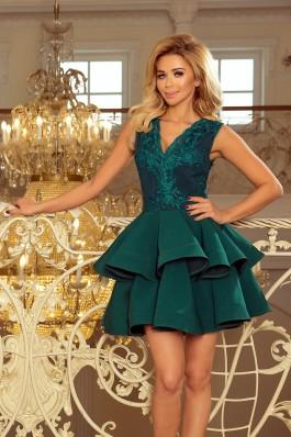 200-6 CHARLOTTE - Prabangi smaragdinė suknelė su nėriniais