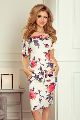 203-1 Gėlėta tampri laisvalaikio suknelė