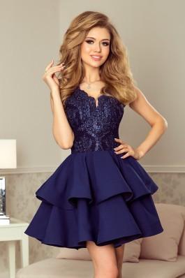 200-2 CHARLOTTE - Prabangi suknelė su nėriniuota iškirpte - Tamsiai mėlyna