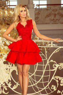 200-4 CHARLOTTE - Eksliuzyvinė raudona nėriniuota suknelė