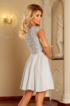 157-6 Šviesiai pilka suknelė MARTA su nėriniais