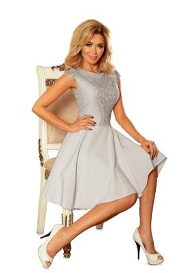 157-6 Suknelė MARTA su nėriniais - šviesiai pilka