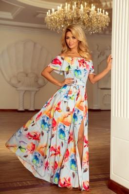 194-1 Nuostabi ilga plazdanti lengva gėlėta suknelė