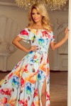 194-1 Ilga gėlėta suknelė - Spalvingos gėlės